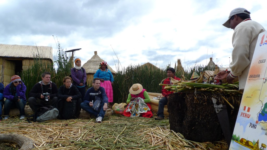 """A demo of how the Uros were built, by the island's """"alcalde"""""""